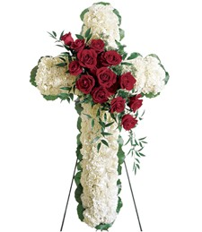 Floral Cross Funeral Spray