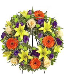 Colorful Tribute Sympathy Wreath